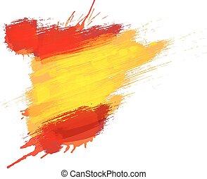 grunge, mapa, de, españa, con, bandera española