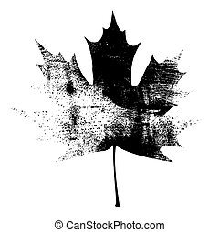 Grunge Maple Leaf - Black