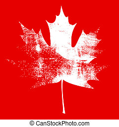 Grunge Maple Leaf - White