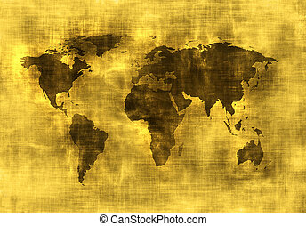 grunge, mappa, di, mondo