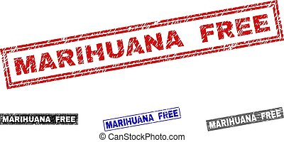 Grunge MARIHUANA FREE Scratched Rectangle Stamps