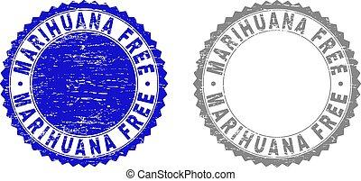 Grunge MARIHUANA FREE Textured Stamp Seals