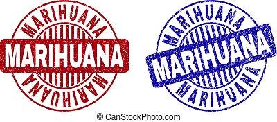 Grunge MARIHUANA Scratched Round Stamp Seals