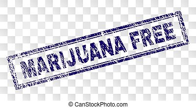 Grunge MARIJUANA FREE Rectangle Stamp