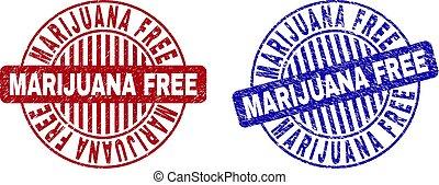 Grunge MARIJUANA FREE Textured Round Stamp Seals