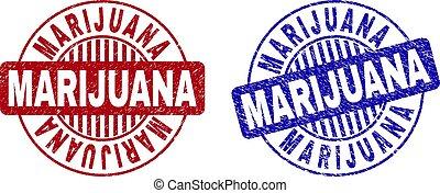 Grunge MARIJUANA Scratched Round Watermarks