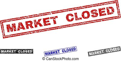 Grunge MARKET CLOSED Scratched Rectangle Watermarks