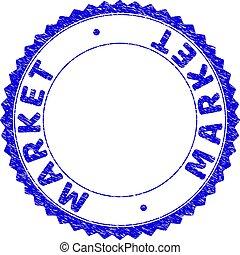 Grunge MARKET Textured Round Rosette Stamp Seal