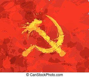 grunge, martello falcetto, simbolo, di, comunismo, su, sfondo rosso
