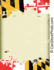 A poster with a large scratched frame and a grunge flag of Maryland for your publicity.
