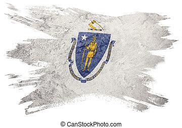 Grunge Massachusetts state flag. Massachusetts flag brush stroke.