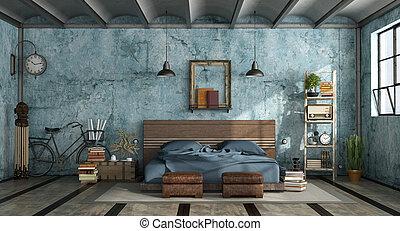 Grunge mastern bedroom in industrial style