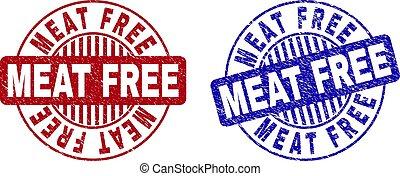 Grunge MEAT FREE Textured Round Stamp Seals