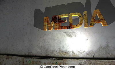 Grunge media text falling concept