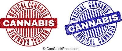 Grunge MEDICAL CANNABIS Scratched Round Stamp Seals