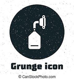 Grunge Medical oxygen mask icon isolated on white background. Monochrome vintage drawing. Vector Illustration