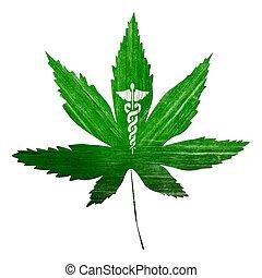 Grunge Medicinal Marijuana - Grunge Marijuana leaf and...