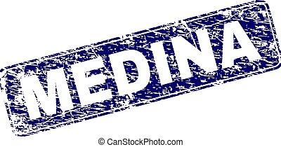 Grunge MEDINA Framed Rounded Rectangle Stamp