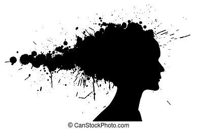 grunge, meisje, silhouette