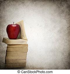 grunge, mela, libri, fondo, pila, rosso