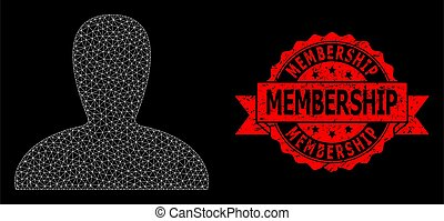 Mesh polygonal spawn persona on a black background, and Membership rubber ribbon seal imitation. Red stamp contains Membership text inside ribbon.