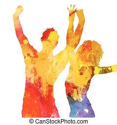 grunge, mensen, watercolour, ontwerp, feestje, 1405