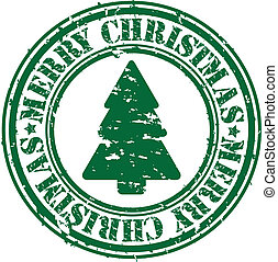 Grunge merry christmas rubber stamp