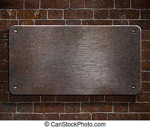 grunge, metaalplaat, met, klinknagelen, op, baksteen muur, achtergrond