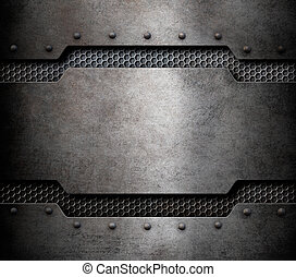 grunge metal background with comb grid 3d illustration