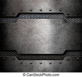 grunge metal background with comb grid 3d illustration