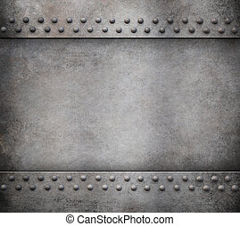 grunge metal background with rivets 3d illustration - old...