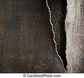 grunge metal background with torn edges