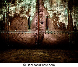 Grunge Metal Door Interior Stage