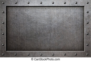 grunge metal frame with rivets background 3d illustration
