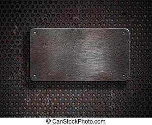 grunge, metal oxidado, placa, encima, fondo cuadrícula