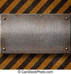 Grunge metal plate with black and yellow stripes