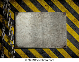 Grunge metal plate with yellow and black stripes