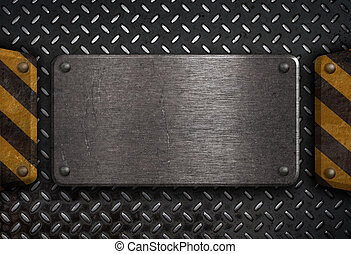 grunge metal plate with yellow warning stripes