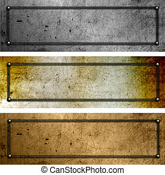 Grunge metal plates - Collection of different coloured metal...