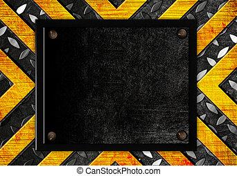 grunge metal template with orange elements