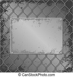 metall plaque - grunge metall plaque on wire mesh background
