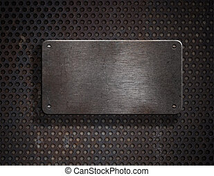 grunge, metallo arrugginito, piastra, sopra, sfondo griglia