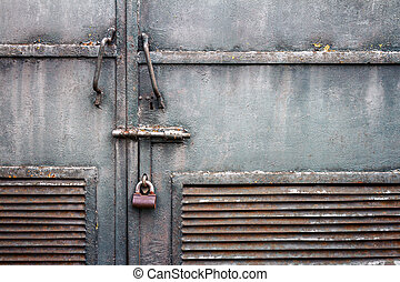 grunge, metallo, porta