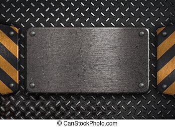 grunge, metallplatte, mit, gelber , warnung, streifen