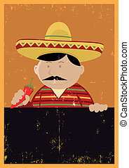 Grunge Mexican Chef Cook Menu - Illustration of a Mexican...