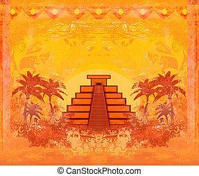 grunge, mexique, pyramide, résumé, maya, -, chichen-itza, ...