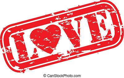 grunge, miłość, kauczukowa pieczęć, wektor, il