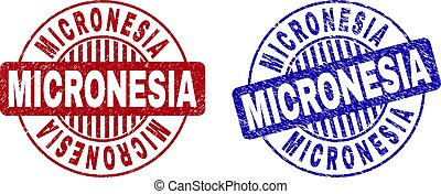 Grunge MICRONESIA Textured Round Watermarks