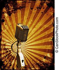 Grunge microphone - Grunge style retro microphone