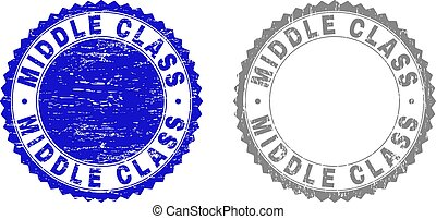 Grunge MIDDLE CLASS stamp seals isolated on a white background. Rosette seals with distress texture in blue and gray colors. Vector rubber stamp imitation of MIDDLE CLASS tag inside round rosette.